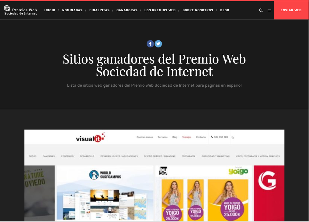 Ganadores del premio Web Sociedad de internet 2019