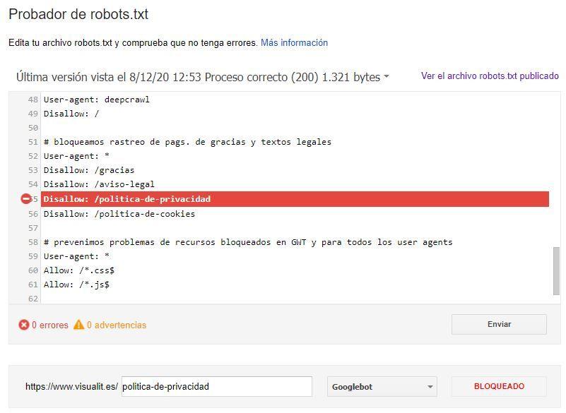 Comprobación de bloqueo con Disallow en robots.txt